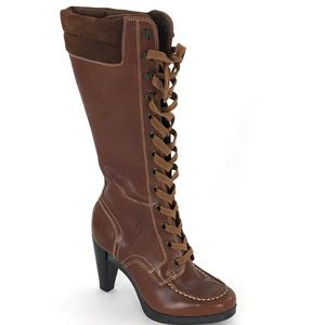 Cole Haan Knee Boots 5.5 B Peyton Lace Up Leather